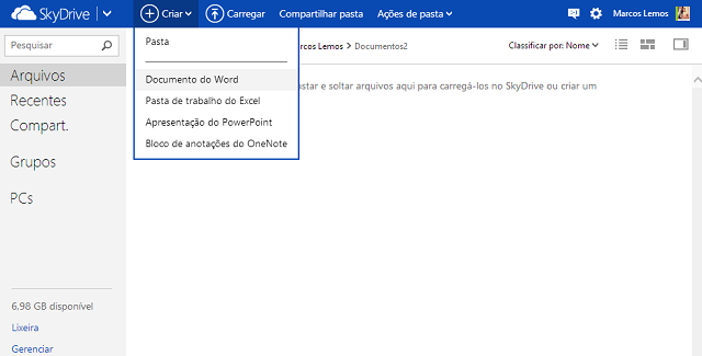 skydrive Usar o Microsoft office online