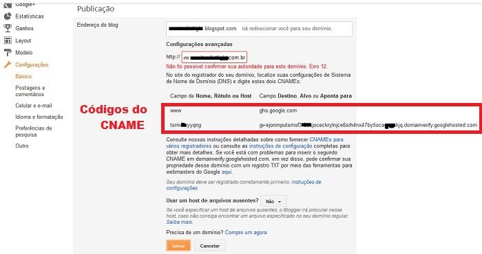 Erro 12 para Domínio próprio no Blogger