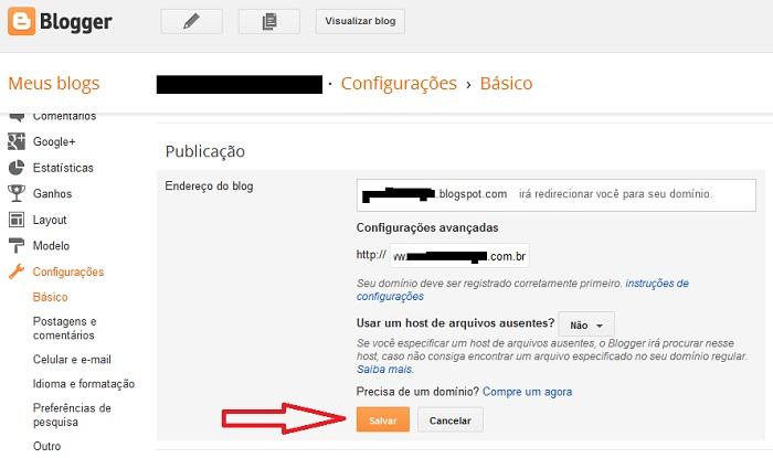 Configurar Domínio Próprio no Blogger