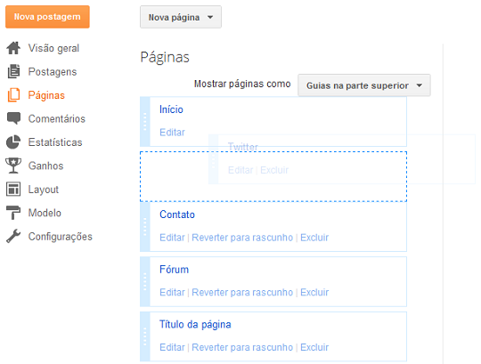 Como arrastar e reposicionar menus do Blogger