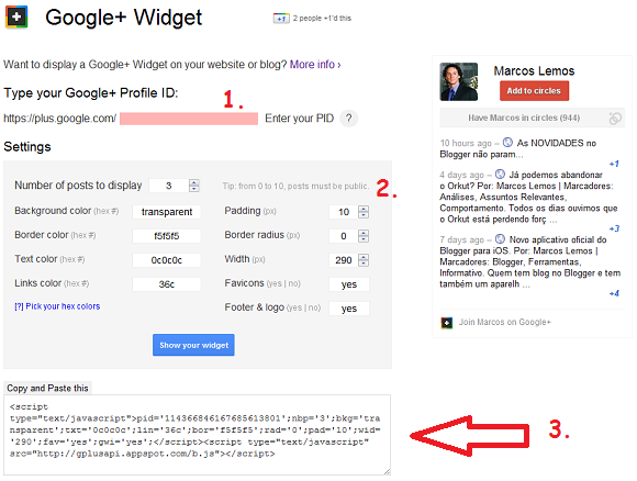 Página do Google+ Widget para Blogs