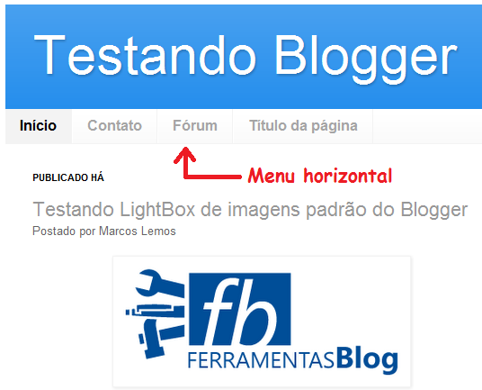 Exemplo de Menu horizontal padrão do Blogger