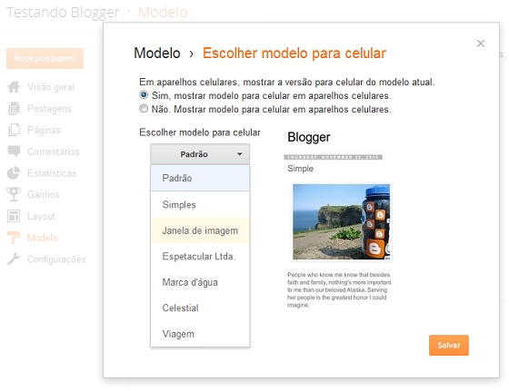 Escolher layout do modelo de celular no Blogger