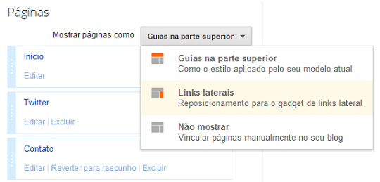 Menu para organizar links e páginas do Blogger
