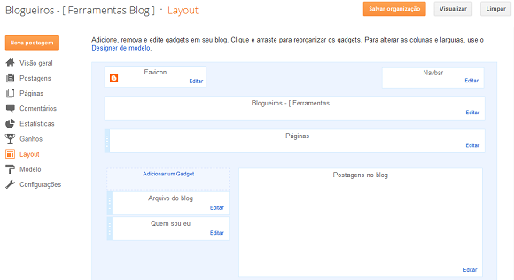 Novo Menu Layout do Blogger para mexer nos elementos Gadgets