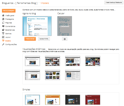 Menu Modelo do Blogger para alterar templates e layouts