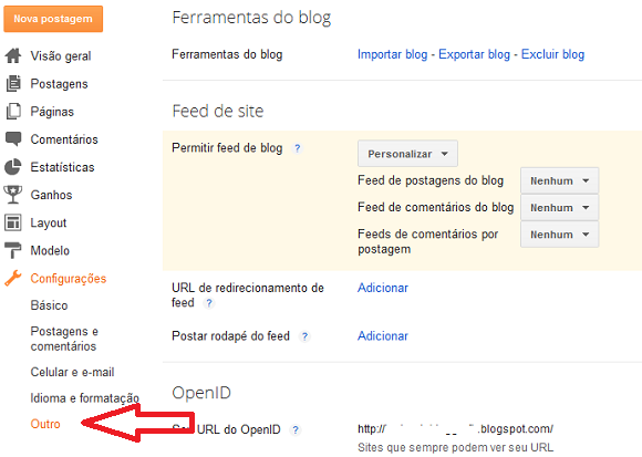 Como configurar Feed no painel do Blogger