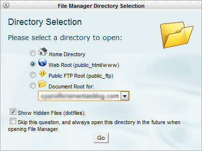 Diago inicial do File Manager cPanel
