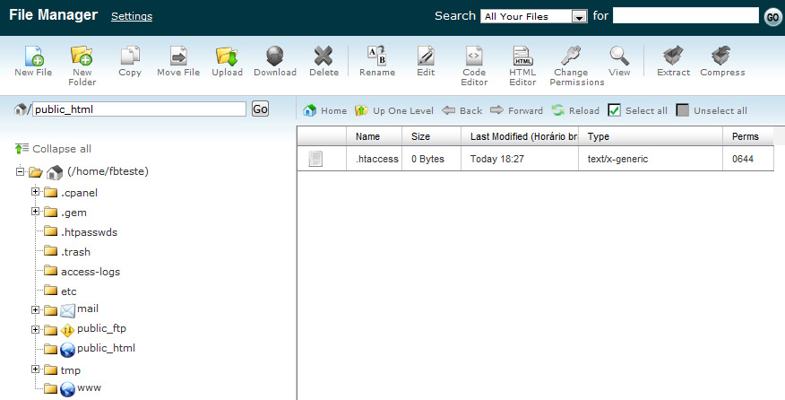 Interface do File Manager cPanel