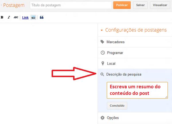 Formulário para Configurar descrição de artigos individuais do Blogger