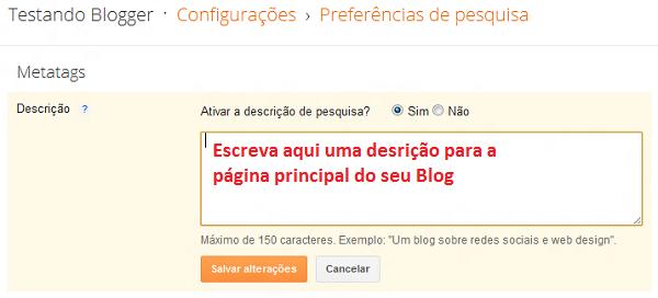 Formulário para escrever descrição do Blog no Blogger Metatag