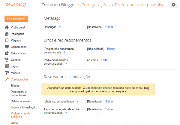 Menu Preferencias de pesquisa do Blogger