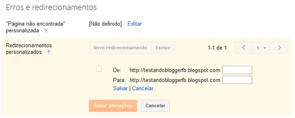 Criar redirecionamentos de links no Blogger