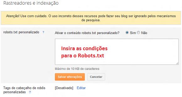 Configurar Robots para o Blogger