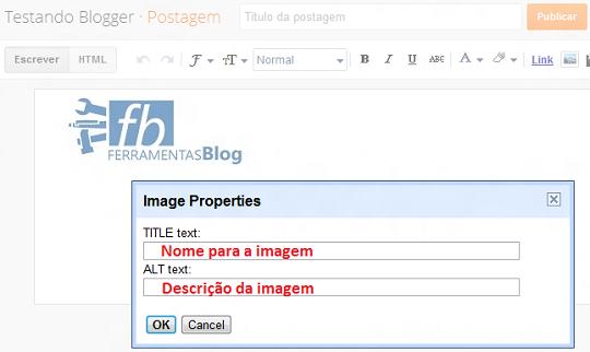 Adicionar Tags Alt e text para imagens no Blogger