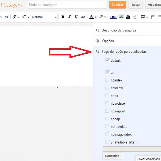 Configurar tags de indexação individual de postagens no Blogger