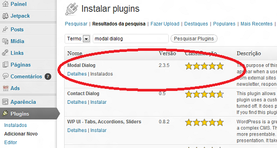 Plugin Modal Dialog para WordPress.org