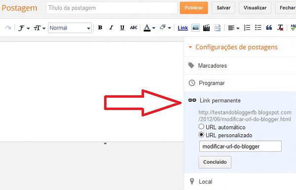 Criando Link permanente no Blogger