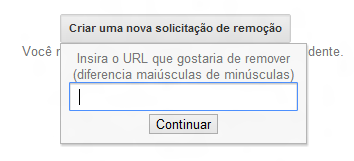 Formulário para remover URL do Google