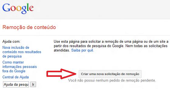 Tela para Solicitar remoção de conteúdo do Google