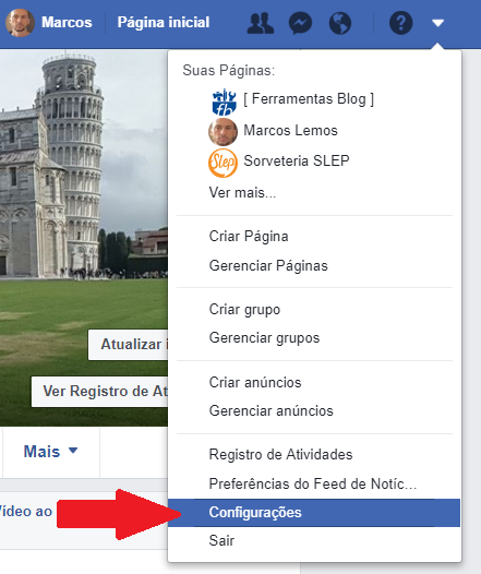 Menu de configurações do Facebook