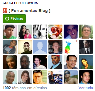 Gadget do Google Plus followers seguidores para Blogger