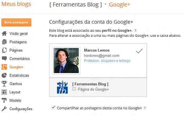 Menu Google+ Plus Perfil para Blogger