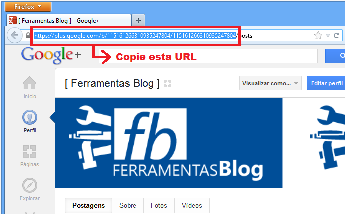 URL da página do Google+
