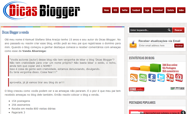 Tela do antigo DicasBlogger.ORG