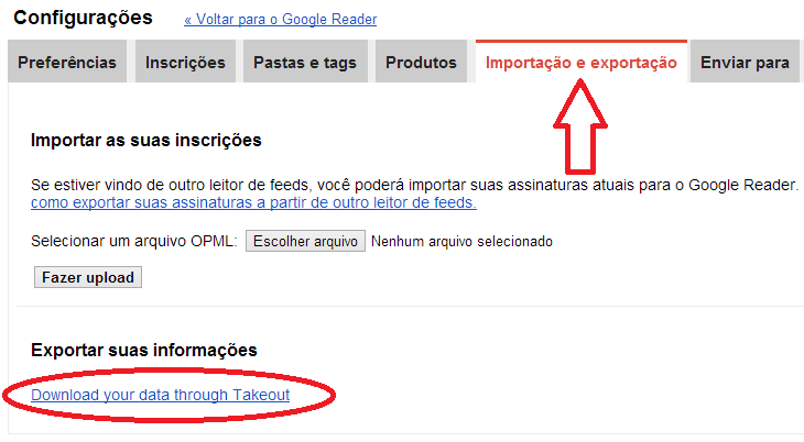 Exportar dados do Google Reader