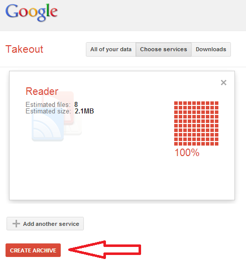 Takeout Google Reader