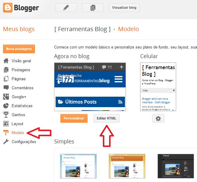 Botão Editar HTML do Blogger