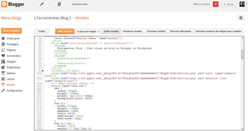 Novo painel Editar HTML do Blogger