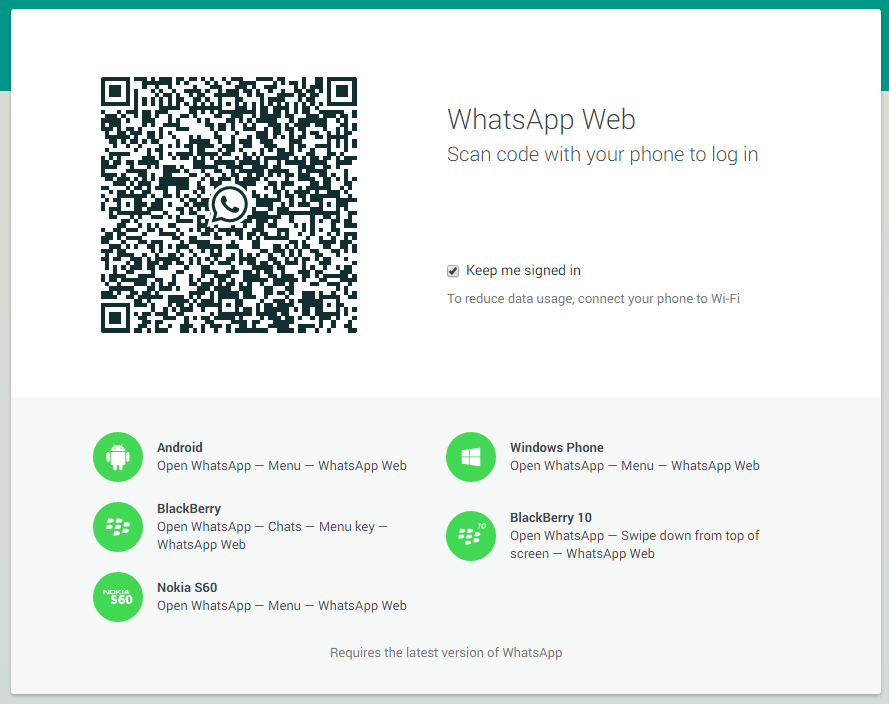 tela do novo WhatsApp Web