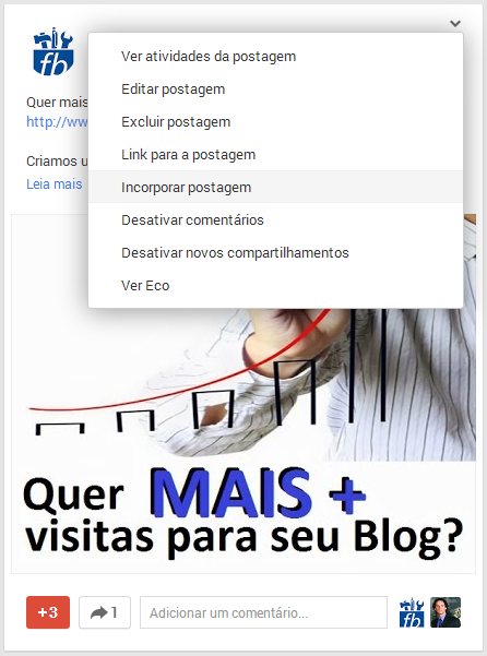 Incorporar Postagem do Google+ no Blog