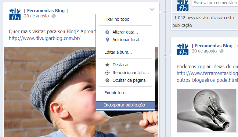 Incorporar Postagens do Facebook no Blog