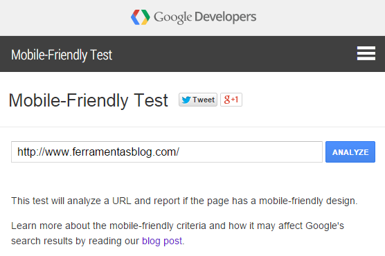 Teste Google mobile-friendly