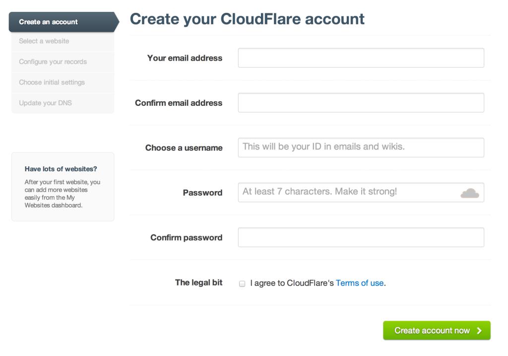 Formulário de cadastro do CloudFlare