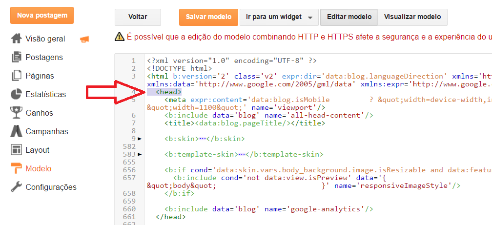 Linha de códigos HTML HEAD no Template do Blogger