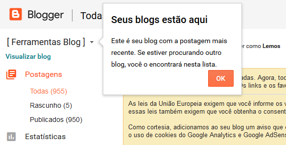 Menu para acessar Blogs no Blogger