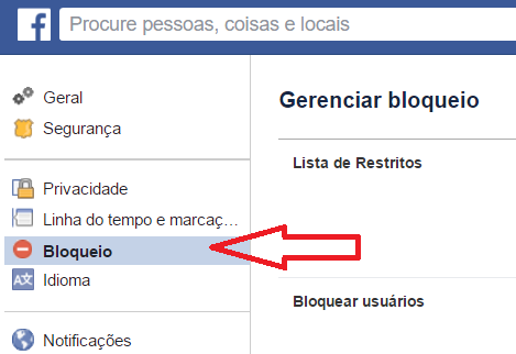 Menu Bloqueio do Facebook