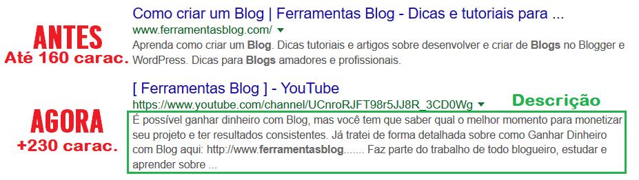 Nova apresentação das descrições de links no Google