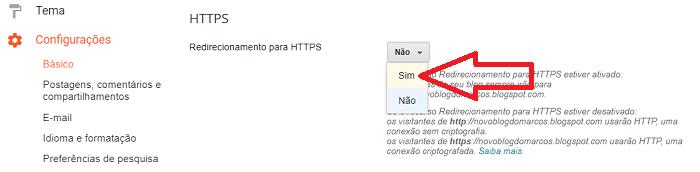 Escolha a opção SIM para ativar o redirecionamento para HTTPS no Blogger
